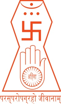 This is the emblem of Jainism. This Jain symbol was agreed upon by all Jain sects in 1974.
