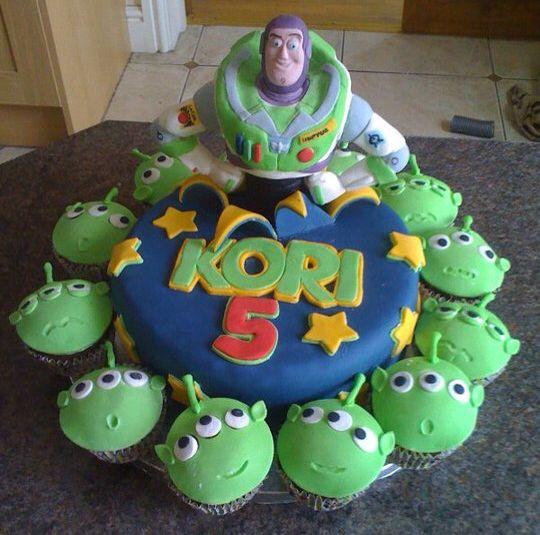Buzz Lightyear cake. I like the idea of the alien cupcakes
