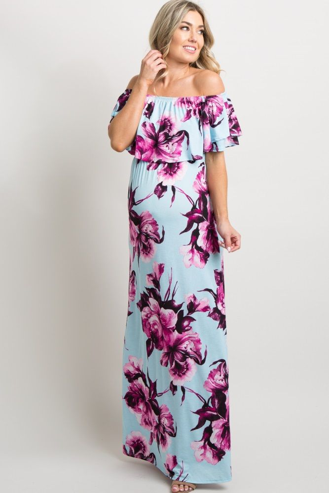 fd658e798ec76 Mint Green Floral Ruffle Off Shoulder Maxi Dress A floral print, off  shoulder maternity maxi dress featuring cinched elastic neckline and  waistline, ...