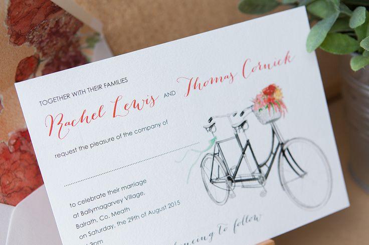 Romantic bicycle themed wedding invitation on white background