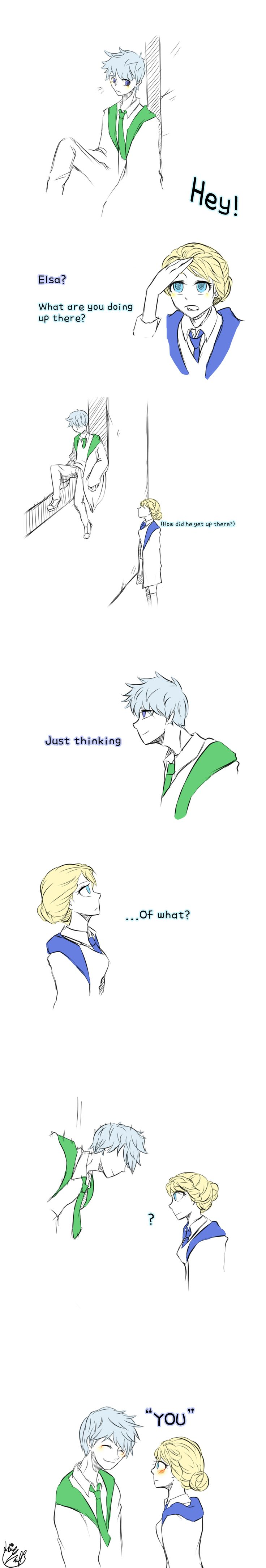 Thinking by Lime-Hael on deviantART | Frozen's Elsa and Rise of the Guardians' Jack Frost | J.K. Rowling's Harry Potter