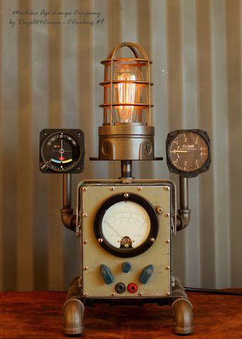 Steampunk Lamp Aviation Aircraft Instrument Repurposed #CC9