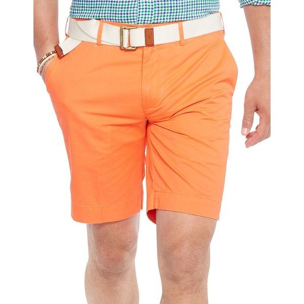Polo Ralph Lauren Classic-Fit Pima-Blend Chino Shorts ($80) ❤ liked on Polyvore featuring men's fashion, men's clothing, men's shorts, neon orange, mens chino shorts, mens neon shorts, polo ralph lauren mens clothing, mens orange shorts and polo ralph lauren mens shorts