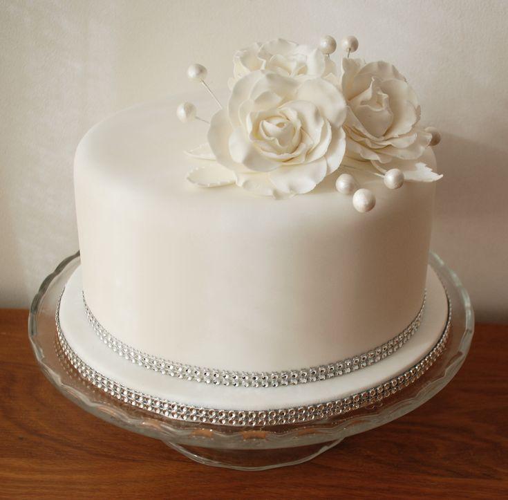 Diamond wedding anniversary cake, pure white elegance by Just Yummy - www.justyummy.co.uk