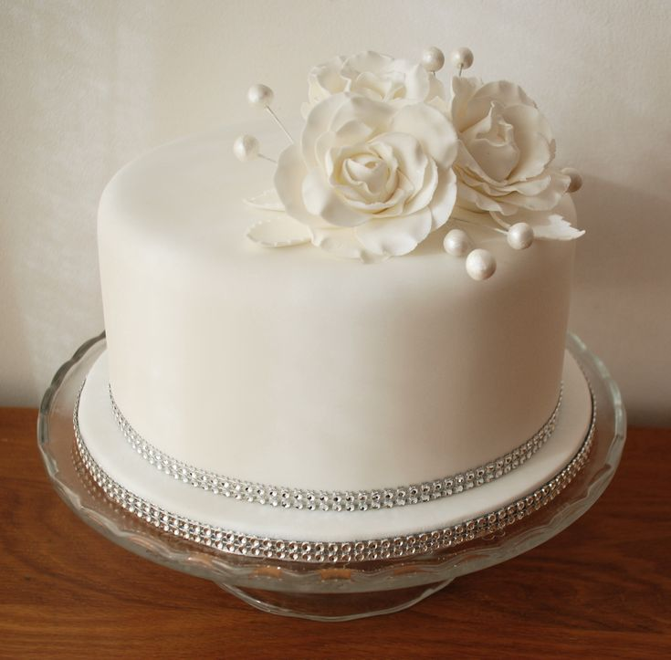 Diamond wedding anniversary cake, pure white elegance by Just Yummy - www.justyummy.co.uk