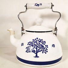 VINTAGE TEA KETTLE/ POT, WHITE ENAMEL AND STEEL, NAVY DECOR BIRDS AND TREES