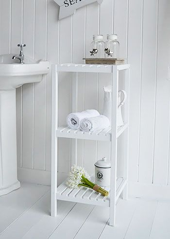 Brighton White Shelf Unit For Bathroom Storage