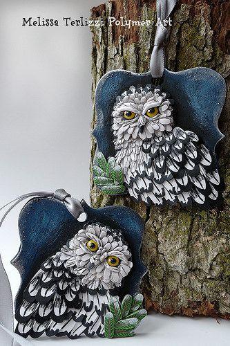 Snowy Owl polymer clay ornament   by melissa_terlizzi