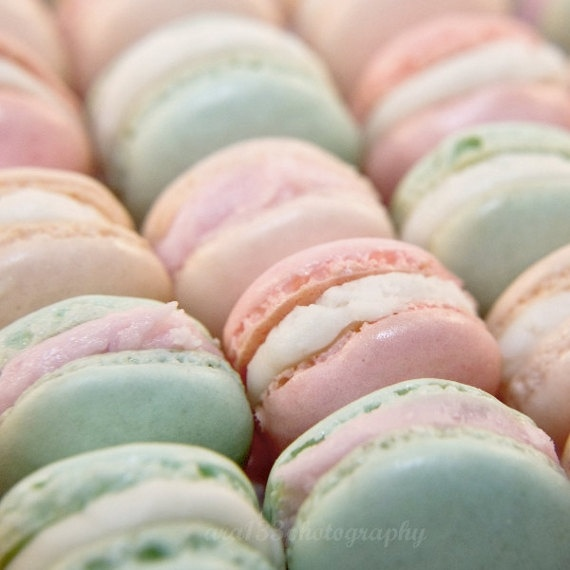 baby pink and baby blue macaroons
