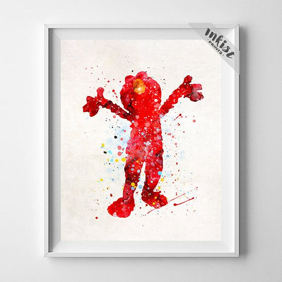Sesame Street Art, Elmo Print, Watercolor Art, Nursery Art Print, Baby Shower, Kids Room Decor, Wall Art, Illustration, Christmas Gift, Wall Art. PRICES FROM $9.95. CLICK PHOTO FOR DETAILS. #inkistprints, watercolor, watercolour, giftforher, homedecor, wallart, walldecor, poster, print, christmas, christmasgift, weddinggift, nurserydecor, mothersdaygift, fathersdaygift, babygift, valentinesdaygift, painting, dorm, decor, livingroom, bedroom