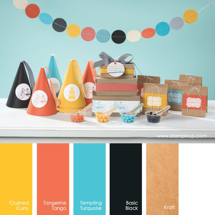 Crushed Curry, Tangerine Tango, Tempting Turquoise, Basic Black, Kraft #stampinupcolorcombos