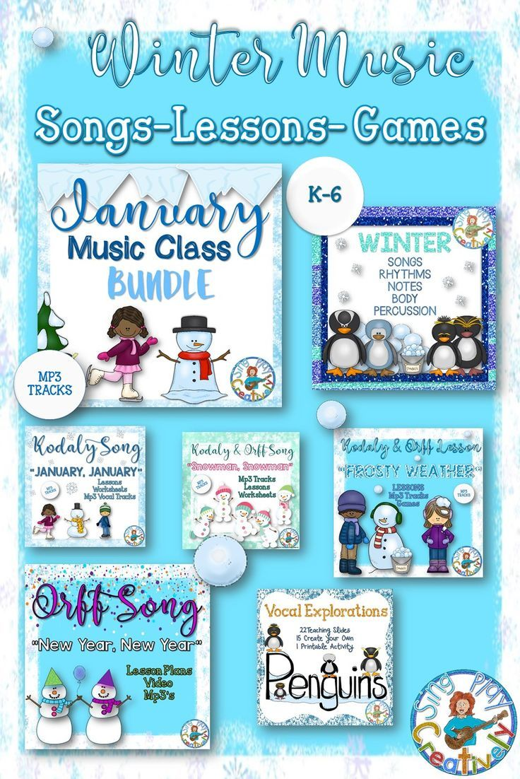 "Winter Music Class has never been SNOW MUCH FUN! You'll find all of your K-6 lesson materials right here for ""loads"" of learning in resources that offer Kodaly and Orff applications. Original, effective and easy to use with MP3 VOCAL tracks for all songs-SAVE YOUR VOICE! https://www.teacherspayteachers.com/Store/Sing-play-creatively/Category/JANUARY-185934"