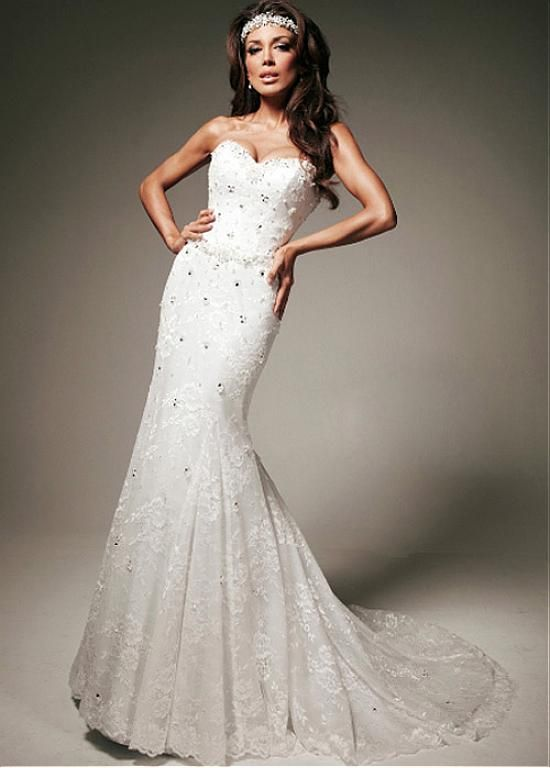 ULTRA CHIC LACE SATIN MERMAID SWEETHEART NECK NATURAL WAISTLINE WEDDING DRESS LACE FORMAL PROM PARTY BALL GOWN