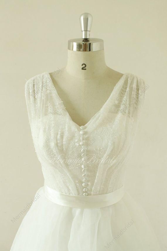Vintage tea lenghth lace wedding dress,vintage lace wedding dress, destination, outdoor wedding dress,Elopement Dress with deep v neckline
