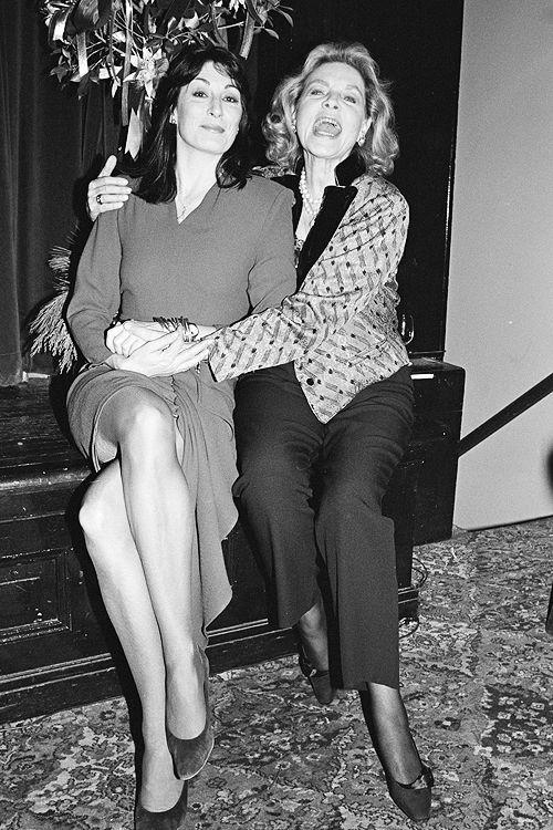 Lauren Bacall and Anjelica Huston