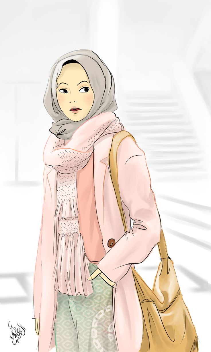 Girl with casual hijab outfit illustration with girlish color theme by Abdurrahman Al Hanif a.k.a @zenvuitton