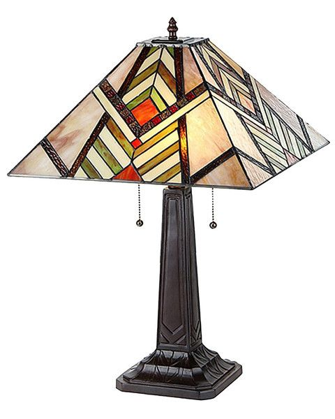 The arts crafts aberle stained glass table lamp with its colorful intricate design