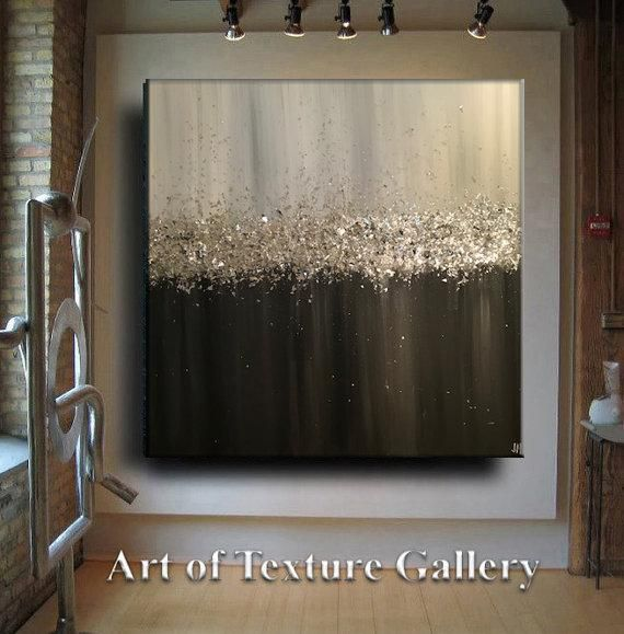 Large Abstract Painting Original Custom Texture Modern Resin Silver Glitz Foil Metal Black Platinum Gray White Glitter Painting Je Hlobik