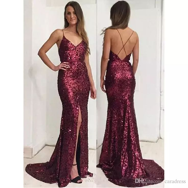 2017 Sparky Burgundy Sequined Prom Evening Dress Spaghetti Straps Front Slit Open Back Long Floor Length Backless Women Formal Party Gowns Cheap Prom Dresses Dresses Evening Wear Plus Size Evening Gown Dress Online with $135.0/Piece on Caradress's Store | DHgate.com