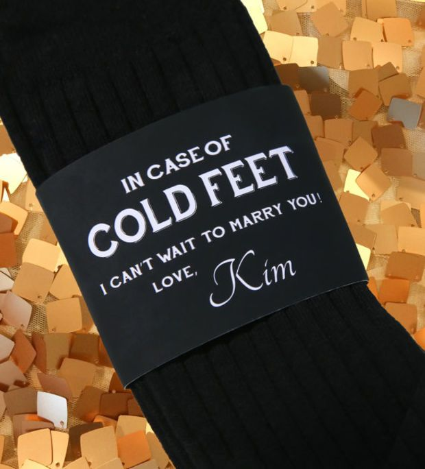 Cold Feet Personalized Bride Gift To Groom Label And Socks Best Wedding