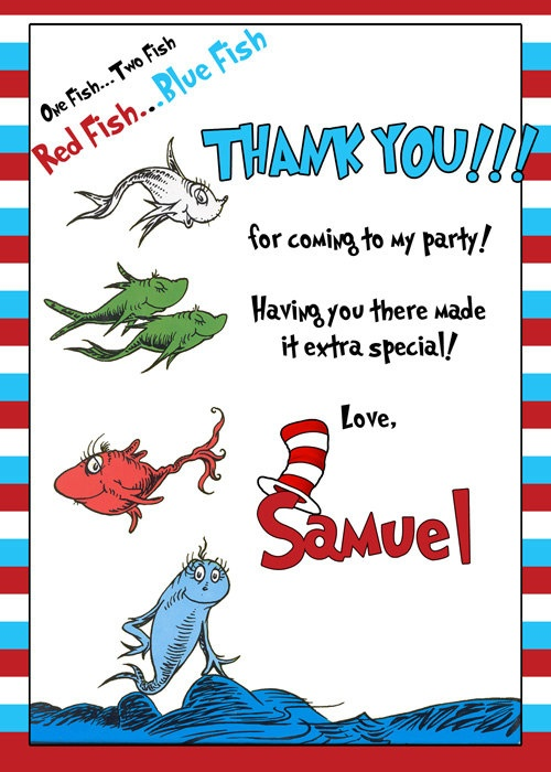 Dr seuss one fish two fish thank you card by for One fish two fish red fish blue fish