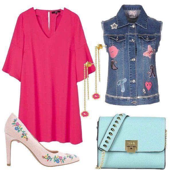 Il vestito rosa fucsia ha una linea svasata che scende morbida, lo scollo a V e le maniche 3/4 che si aprono a campana. Lo abbiniamo allo smanicato in jeans blu medio lavaggio con decoro di patches colorate messe qua e la . Ai piedi décolleté in suede rosa con ricami di fiori colorati, punta e tacco a spillo alto. Come borsa una tracollina azzurra con applicazioni dorate. Per finire orecchini oro pendenti con labbra rosa smaltate.