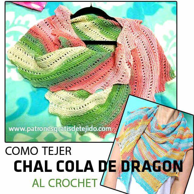 tutorial chal cola de dragon tejido con ganchillo  http://www.patronesgratisdetejido.com/2016/05/chal-cola-de-dragon-al-crochet-paso-paso.html