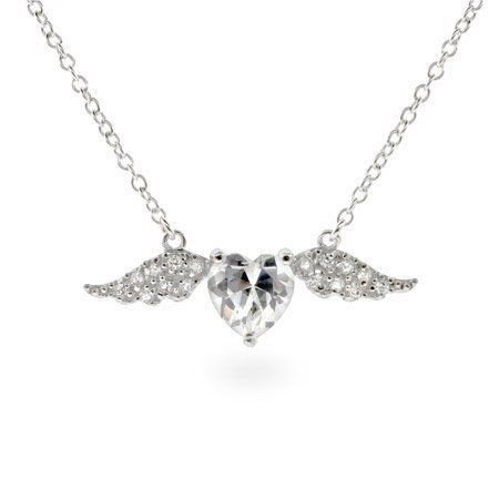 Pave CZ Wings of Desire Sterling Silver Pendant Eve's Addiction. $49.00. TCW: 2.24 carats. Metal Finish: rhodium-finished-sterling-silver. Charm Size: 1 1/4 inches across. Approximate Weight: 4.2 grams (with chain)