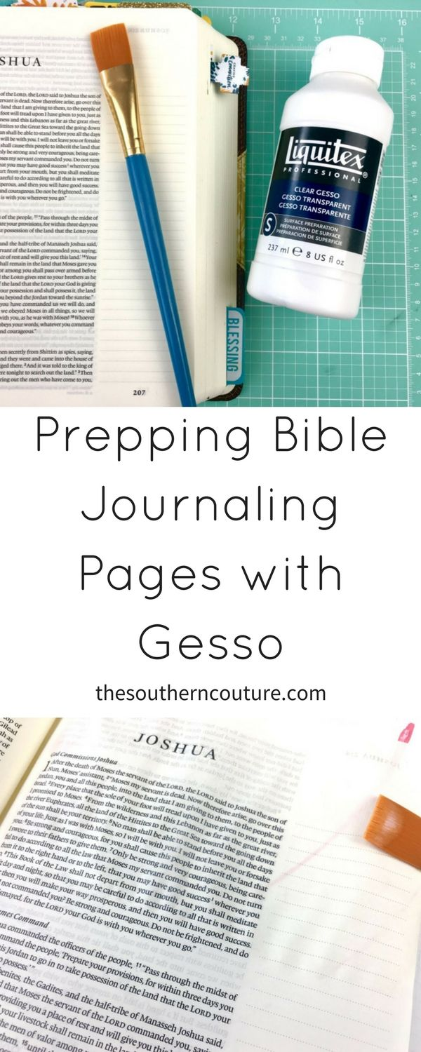 The pages of a Bible are thin and may need to be prepped before using certain art mediums. Prepping Bible journaling pages with gesso before starting an entry is simple and extremely helpful.