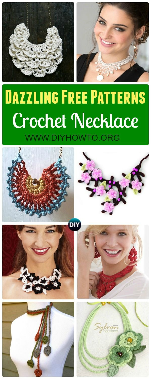 Collection of Crochet Necklace Free Patterns: Spring necklace, flower necklace, Summer Necklace, Chain Necklace and more via @diyhowto #Crochet; #Jewelry