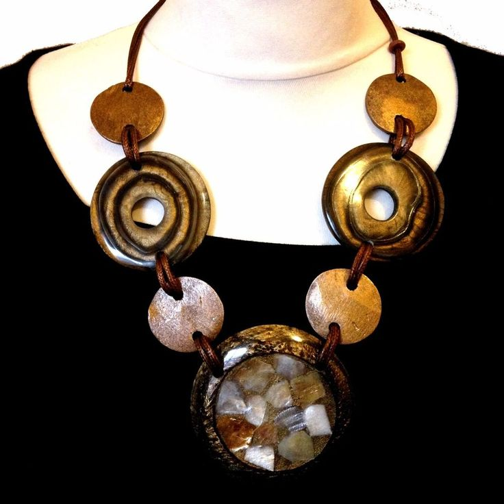 Necklace by Nouvelle of London Boho Style Browns, Gold Shimmer Style