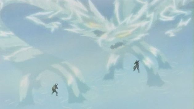 kakashi and zabuza using water dragon jutsu best moment