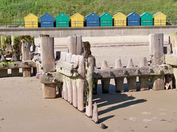 Groynes on Mundesley beach shaped by the tide