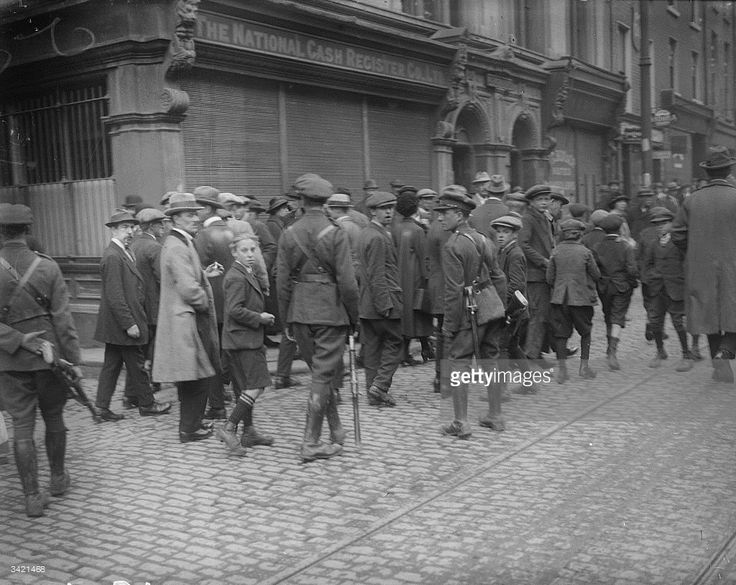 Irish Free State soldiers patrolling the streets of Dublin during the Siege of the Four Courts, the headquarters of the anti-Treaty Republicans during the Irish Civil War.