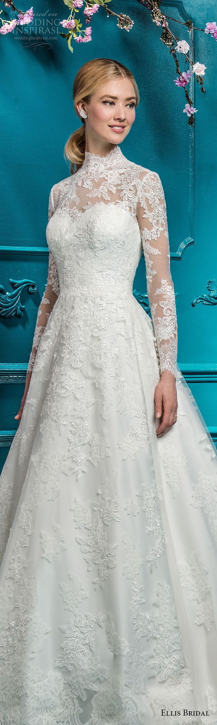 ellis bridals 2018 long sleeves illusion high neck sweetheart neckline full embellishment elegant princess a line wedding dress covered lace back chapel train (2) lv -- Ellis Bridals 2018 Wedding Dresses