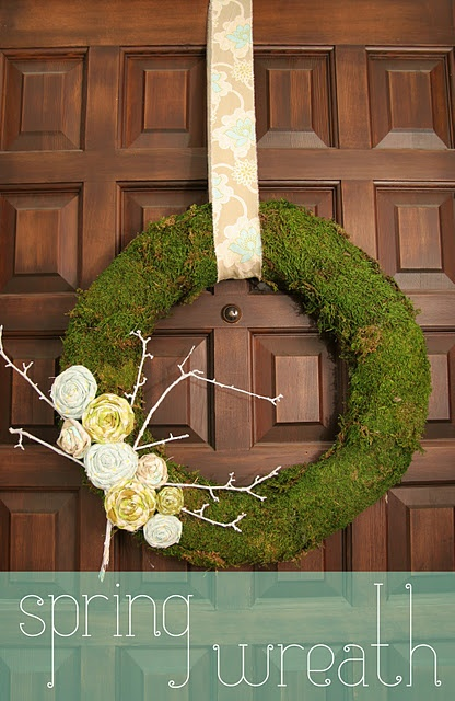 Beaut!Decor, Christmas Flower, Homemade Gingers, Fabrics Flower, Front Doors, Moss Wreaths, Wreaths Ideas, Spring Wreaths, Diy