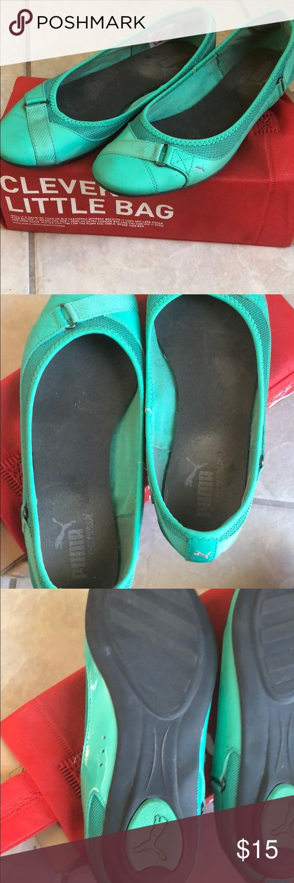 """Mint Puma Women's Flats size 8 Cute and comfy Puma flats in a great """"mint leaf"""" color.  US Women's size 8. Comes with original box.  Style: Bixley Puma Shoes Flats & Loafers"""