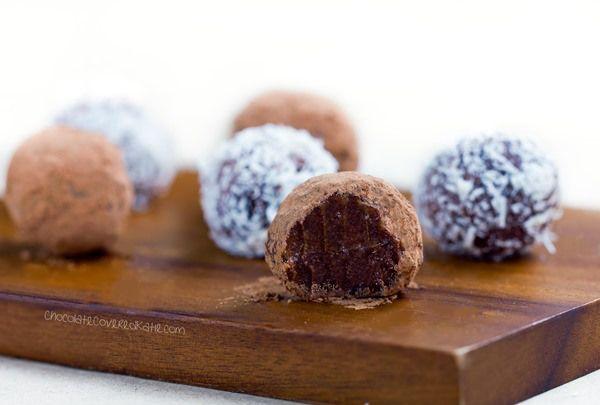 Healthy raw chocolate truffles: http://chocolatecoveredkatie.com/2015/04/13/paleo-raw-chocolate-fudge-balls/