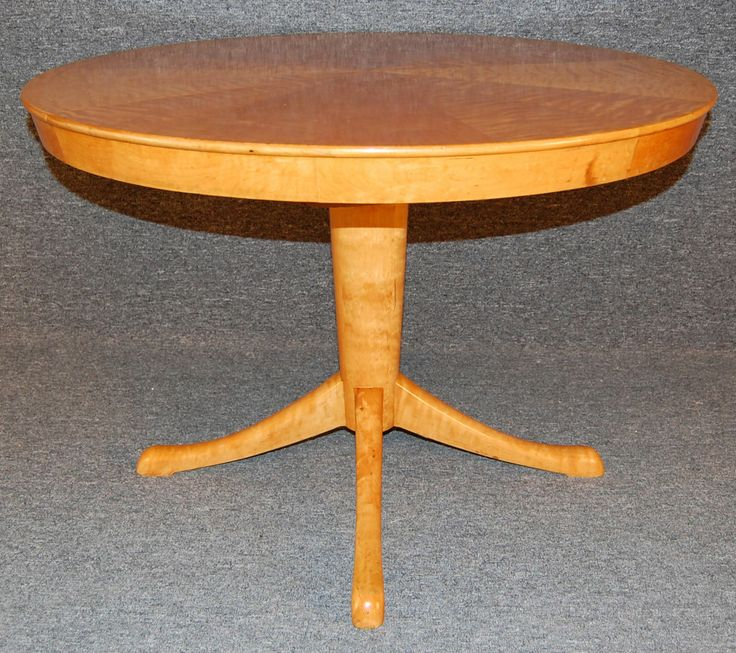 Swedish Art Moderne Flame Birch Extension Game or Dining Table | From a unique collection of antique and modern game tables at http://www.1stdibs.com/furniture/tables/game-tables/