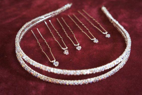 Tiara, Swarovski Crystal Tiara, Double Hair Band, Bridal Accessories, Hair Accessories, Wedding Accessories on Etsy, £34.99