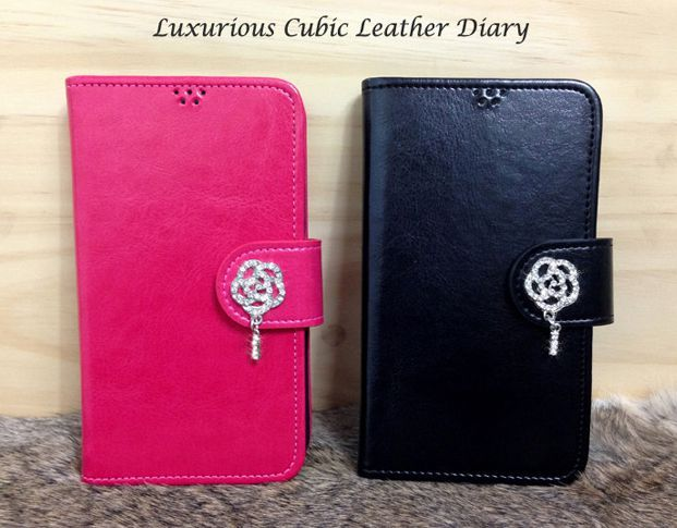 Luxurious Cubic Leather Diary Case for LG Vu 3