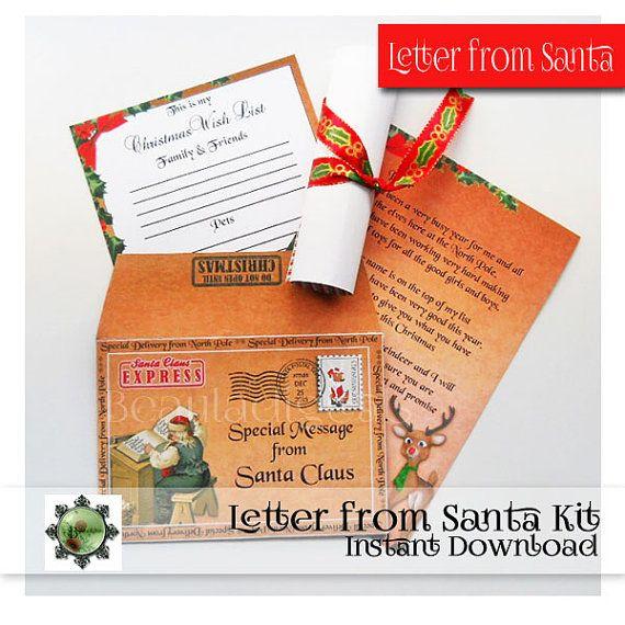 Letter from Santa Envelope Kit _ Santa Claus by Beauladigitals