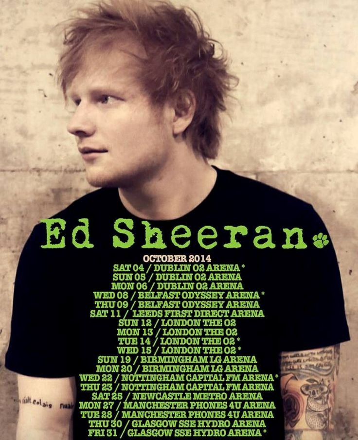 These are the dates for Ed's 2014 tour! :)  They're for Ireland/UK only; there won't be US tour dates for a while though.. :/