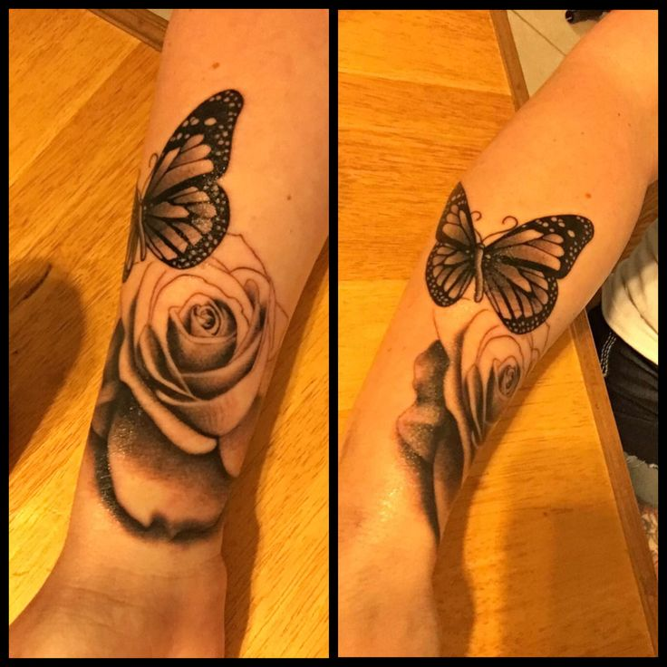 First session of my forearm tattoo. Excited for the rest. #GirlsWithInk #ForArm #Tattoo #BlackAndWhite #RealisticRose #Butterfly