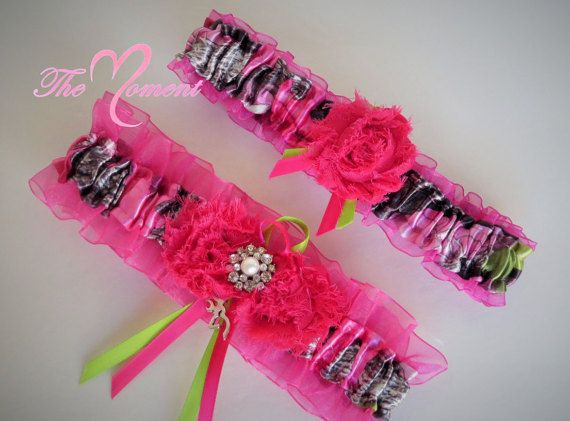 Hot Pink Camo Garter Set for wedding or prom by- TheMomentWeddingBoutique