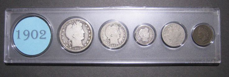 Item specifics     Composition:   Silver       1902 US Coin Year Set 5 Coins 90% Silver  Price : $26.05  Ends on : 4 weeks Order Now