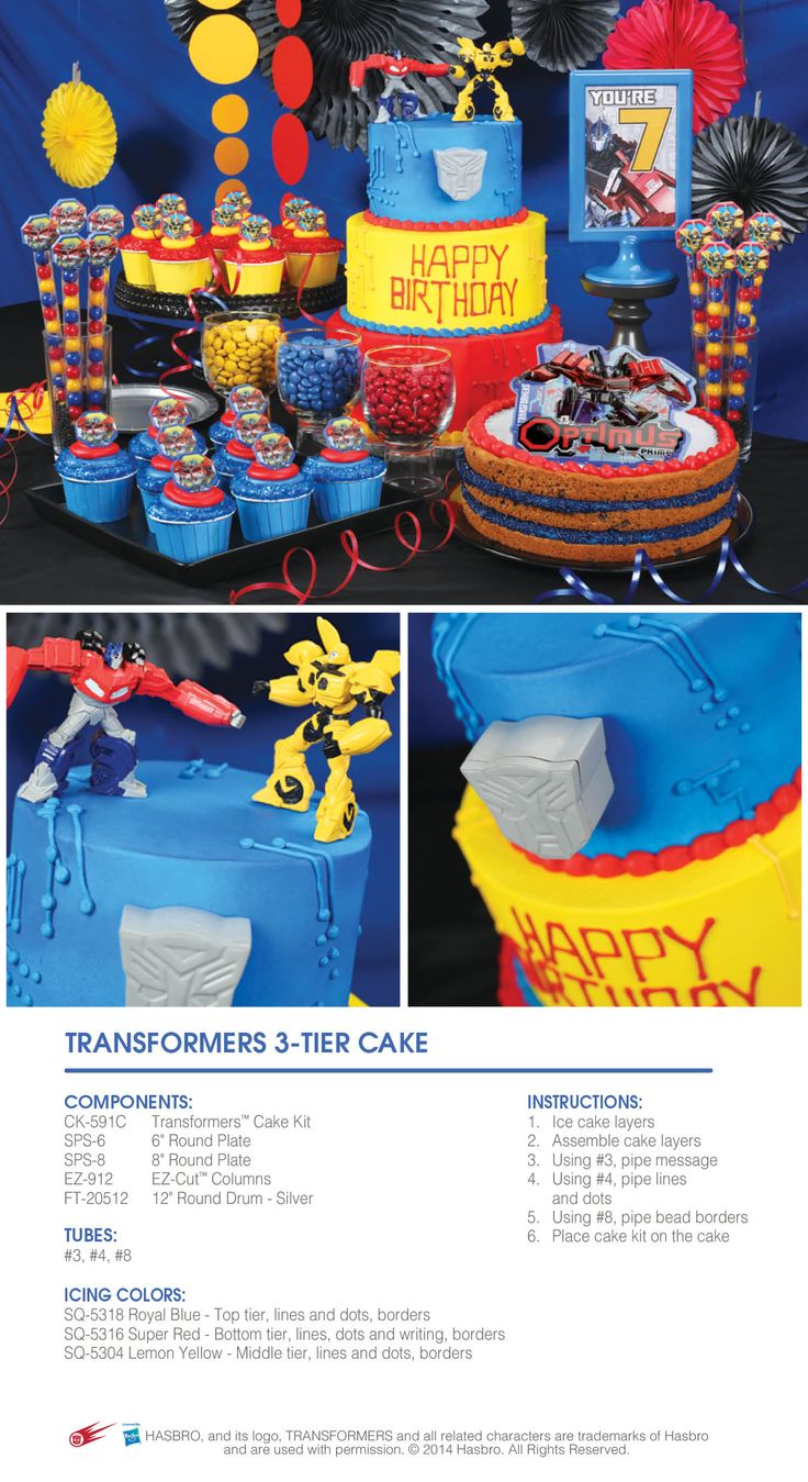 Create a bold and colorful Transformers party with Optimus Prime and Bumblebee