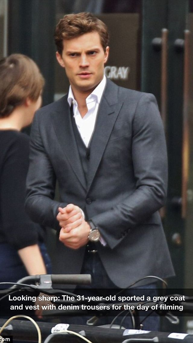 Christian grey/Jamie dornan...looking Very sharp on set! So handsome...I think they got the casting right on with this one :)