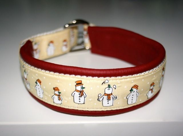 "Zugstopp Halsband/ Leder ""Schneemänner"", Hunde von Lieblingsstücke-Shop auf DaWanda.com"