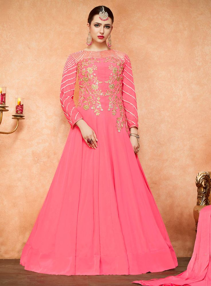 Pink Georgette Floor Length Anarkali Suit 96213